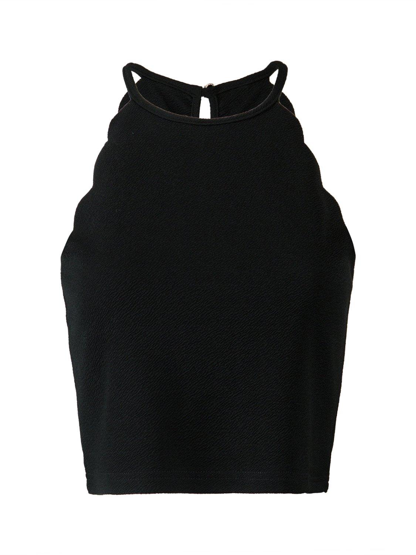 PERSUN Womens Solid Halter Neck Stretch Cami Scallop Edges Tops,Black,M