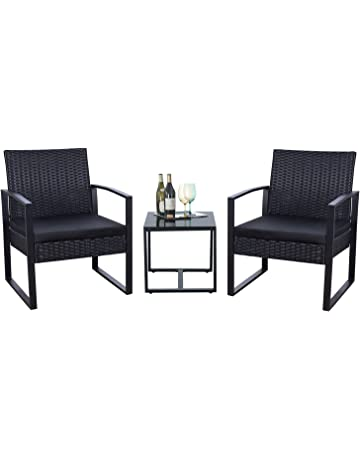 0c88f9556503 Flamaker 3 Pieces Patio Set Outdoor Wicker Patio Furniture Sets Modern  Bistro Set Rattan Chair Conversation
