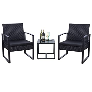 Flamaker 3 Pieces Patio Set Outdoor Wicker Patio Furniture Sets Modern Bistro Set Rattan Chair Conversation Sets with Coffee Table (3 Pieces, Black)