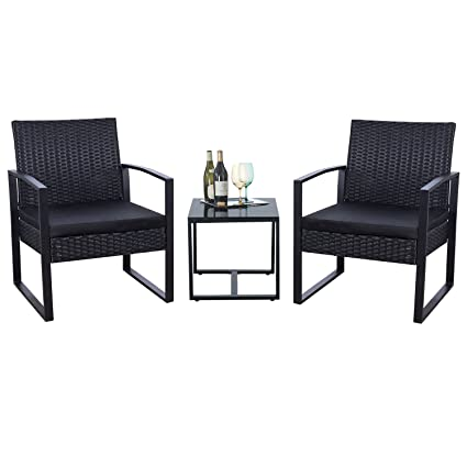 Flamaker 3 Piece Patio Set Modern Outdoor Furniture Sets Clearance  Cushioned PE Wicker Bistro Set Rattan