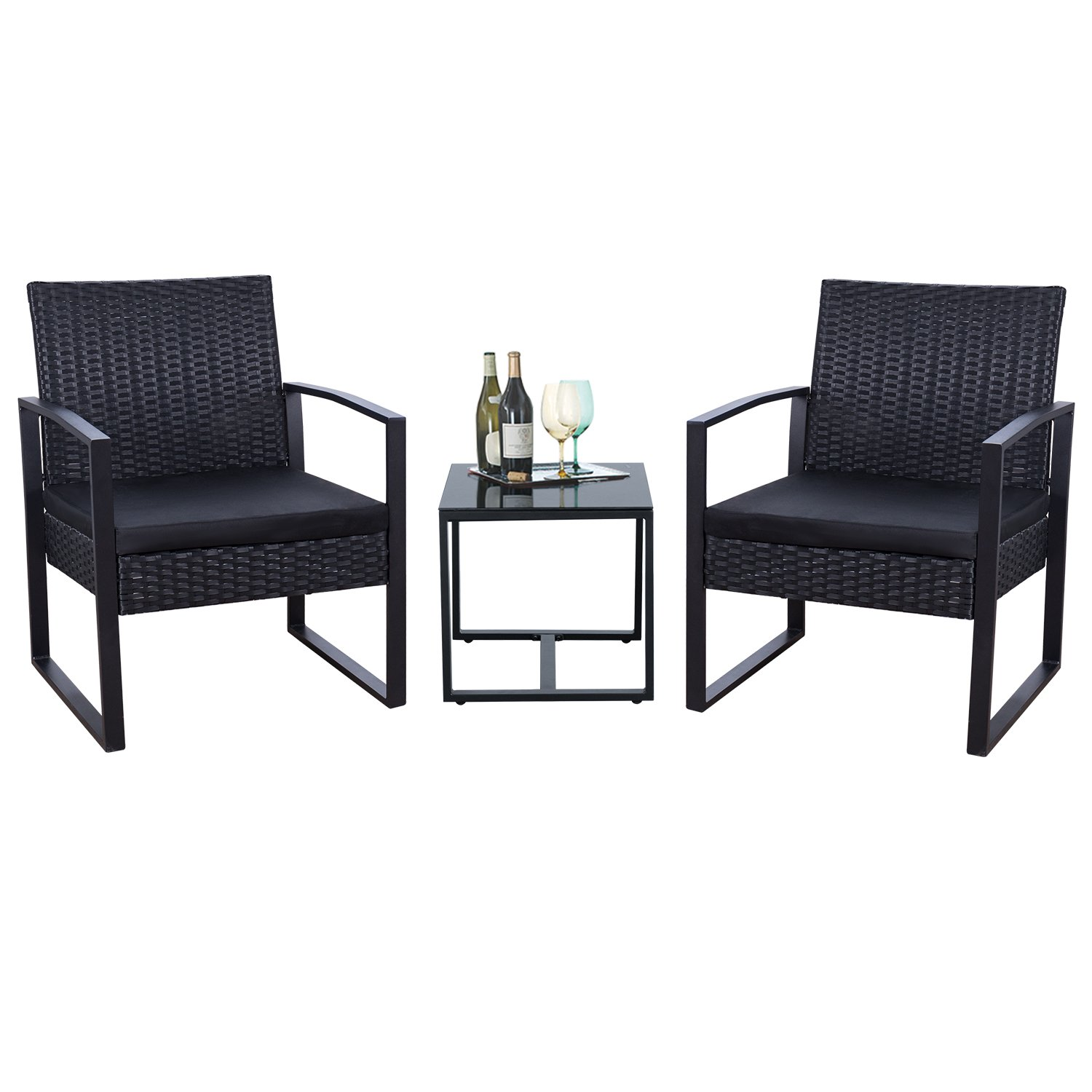 Flamaker 3 Pieces Patio Furniture Set Bistro Table Set Modern Outdoor Furniture Sets Clearance Cushioned PE Wicker Bistro Set Rattan Chair Conversation Sets with Coffee Table (Black)