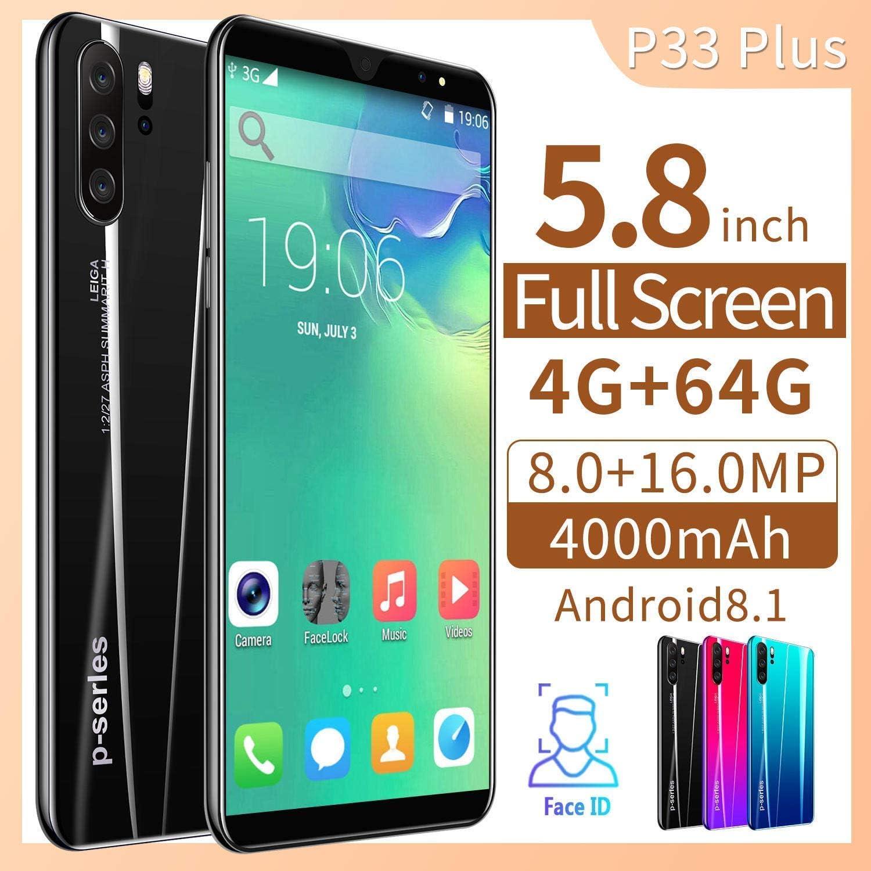 Knoijijuo - Smartphone 4G de 5,8 pulgadas, cámara de 8 megapíxeles, 4000 mAh, Android 8.1 Quad Core 4 GB + 64 GB Dual SIM ID Face Unlock: Amazon.es: Hogar
