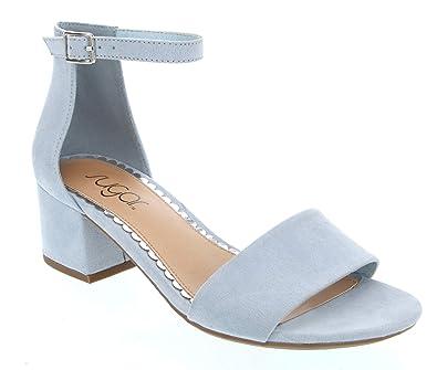 3e5007eeac23 Sugar Women s Noelle Low Two Piece Block Heel Dress Shoe Ladies Ankle Strap  Pump Sandal Baby