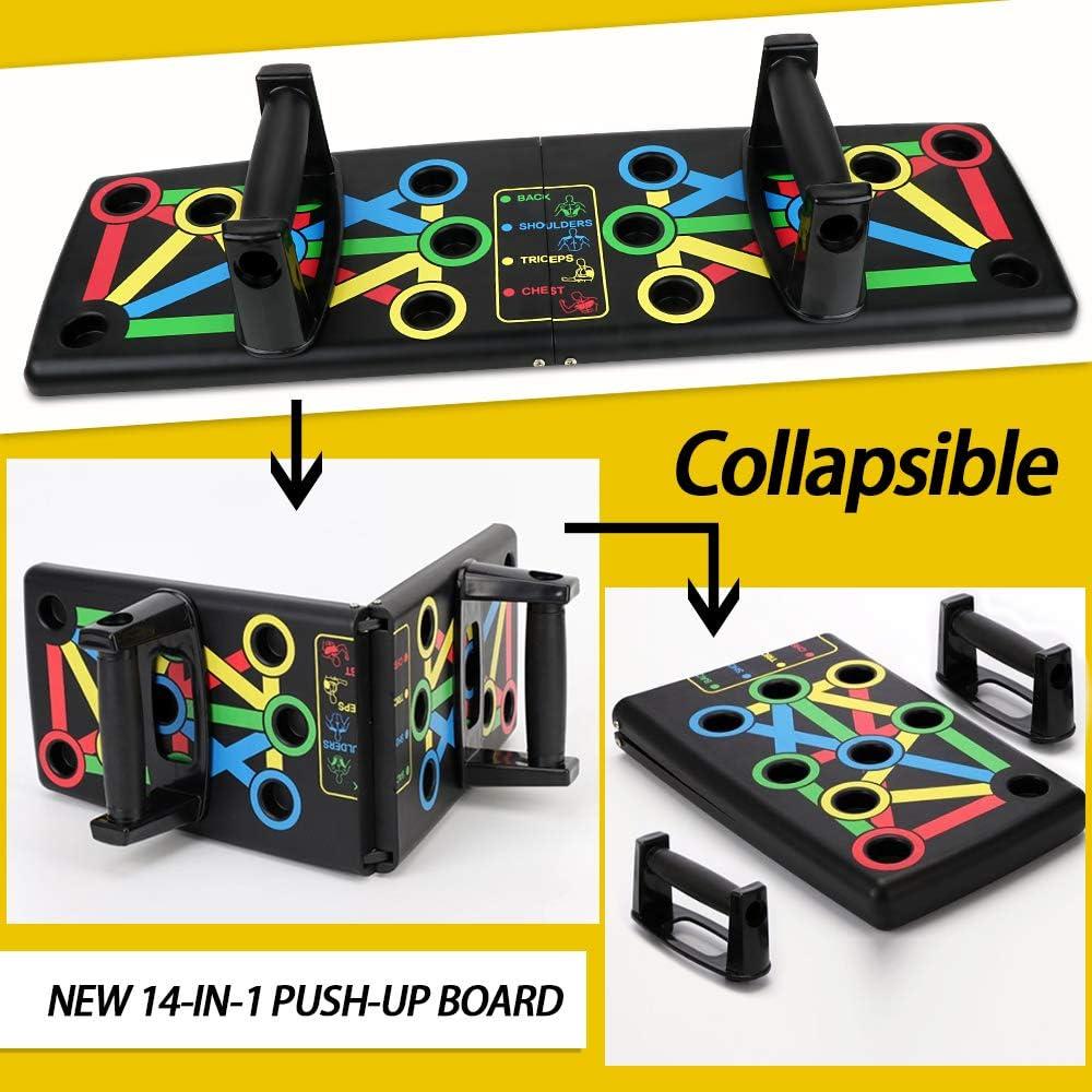 FLOFIA 14 en 1 Push Up Tabla Board Plagable Tabla Flexiones Multifuncion Push Up Board Tablero de Codos Sistema Fitness Entrenamiento de Fuerza Muscular del Cuerpo Ejercicio Gimnasio Hogar Deporte