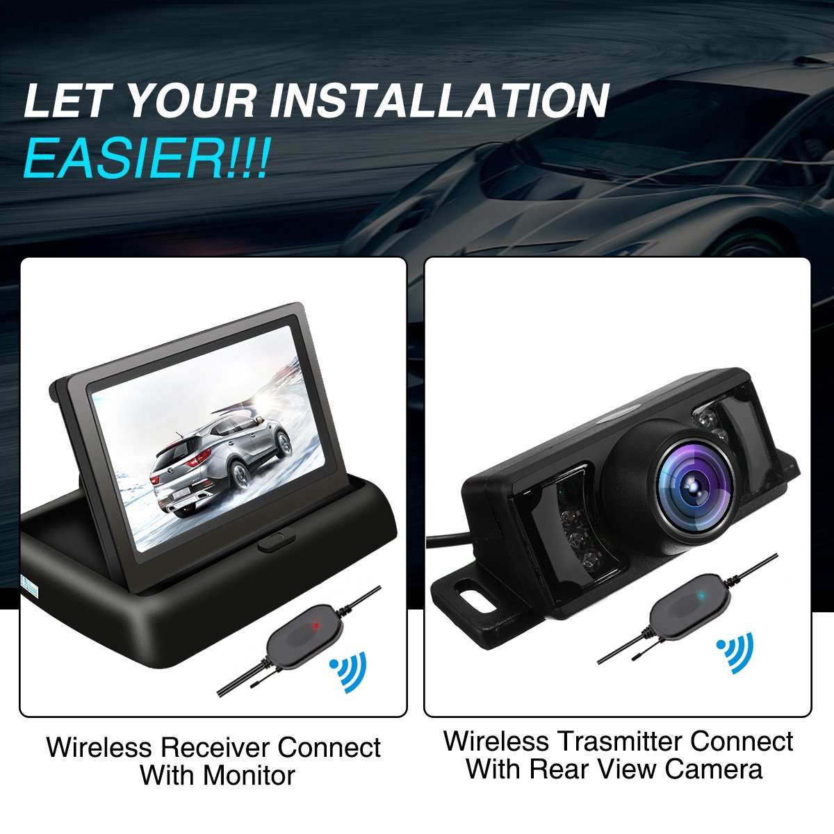 Tvird Backup Camera And Monitor Wireless Car Rear View Reversing Tft Lcd Wiring Diagram System Night Vision Ir Foldable 43 Color Hd