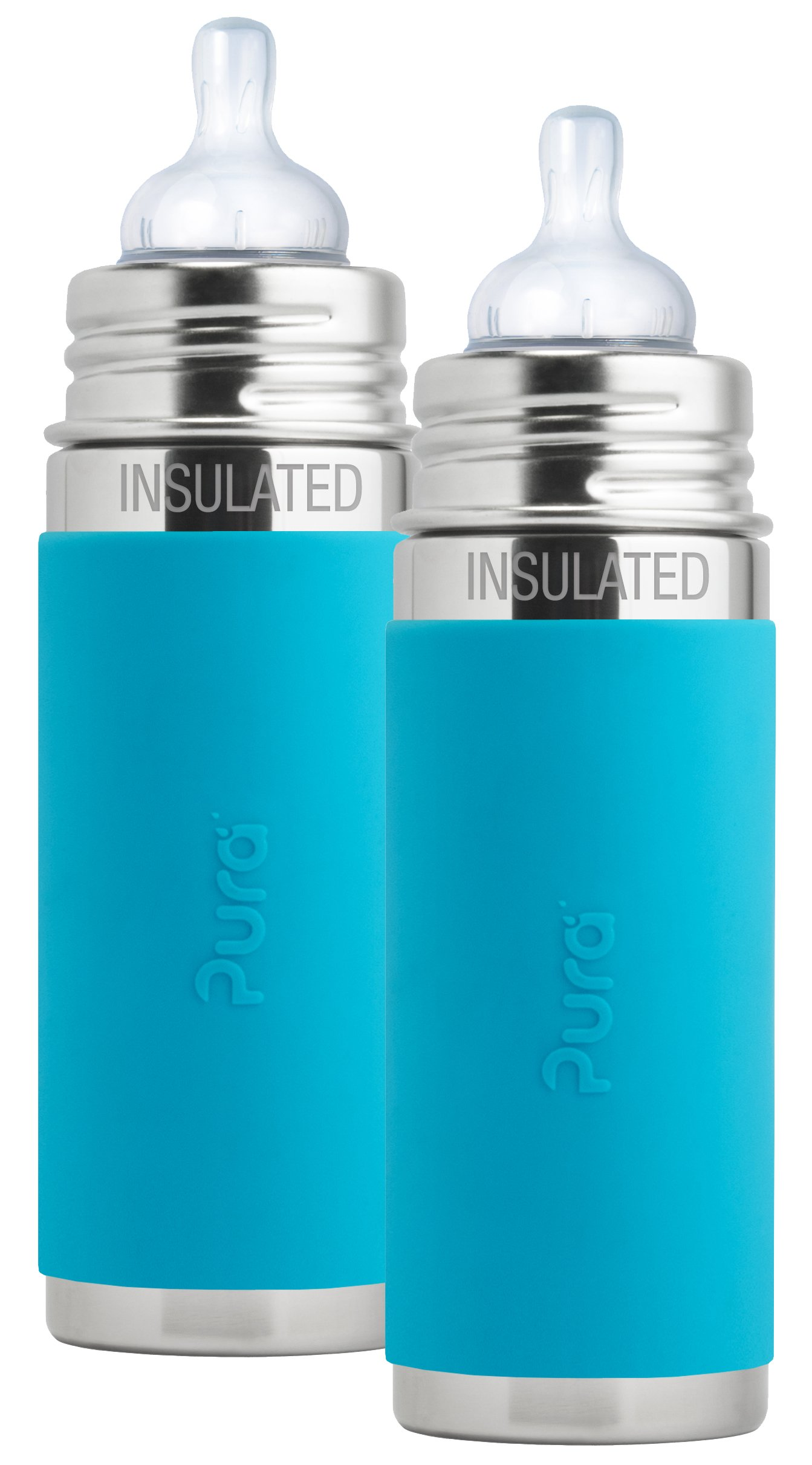 Pura Kiki Stainless Steel Vacuum Insulated Infant Bottle Aqua Sleeve, 9 Ounce, Set of 2