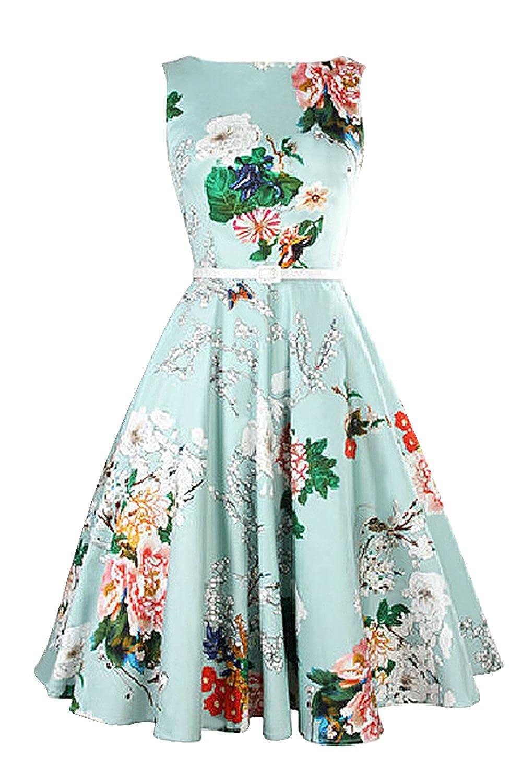 Amazon.com: MisShow Women\'s Classy Audrey Hepburn 50s Retro Floral ...
