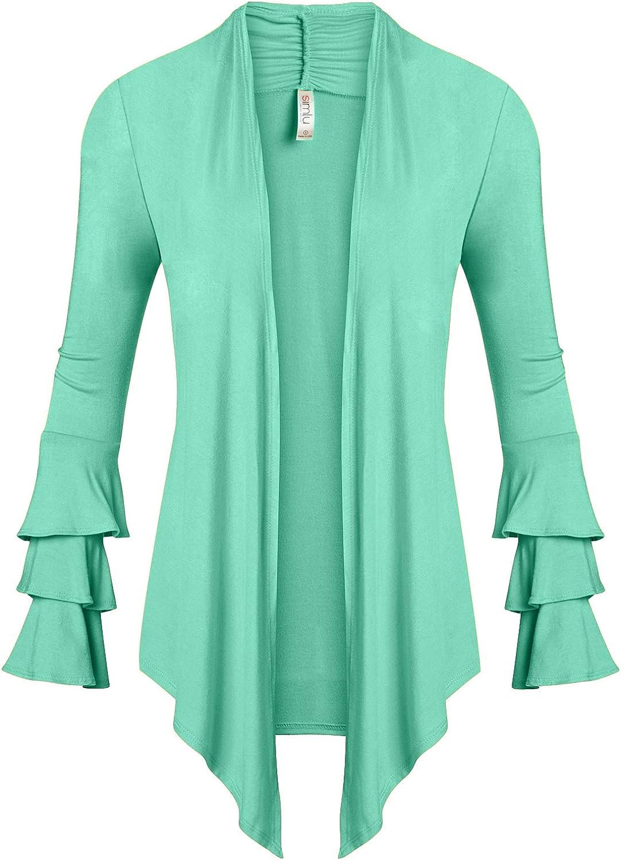 Made in USA Simlu Womens Open Front Cardigan Sweater Ruffle Long Sleeve Cardigan Reg and Plus Size
