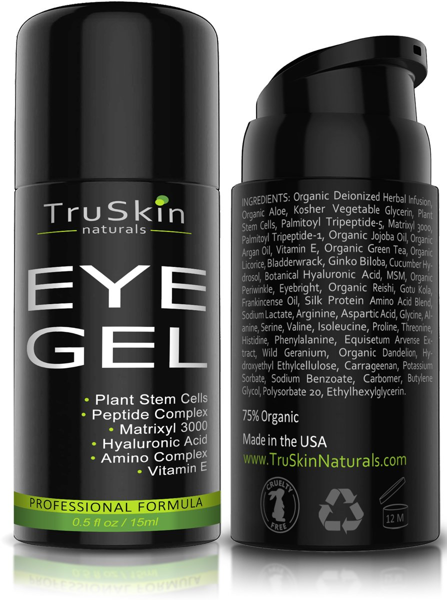 BEST Eye Gel Cream for Wrinkles, Fine Lines, Dark Circles, Puffiness & Bags - 100% Natural, 75% ORGANIC, With Hyaluronic Acid, Jojoba Oil, MSM, Peptides & More - TruSkin Naturals