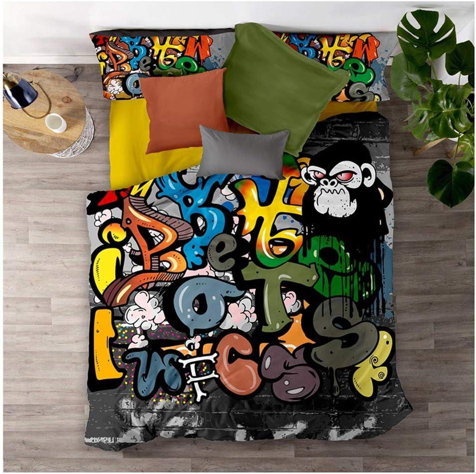 Meet Juego De Cama Graffiti De Color Hip Hop Funda Nórdica Y Funda De Almohada 80% Microfibra + 20% Algodón con Cremallera Oculta (Estilo 02,(150x200cm)-Cama de 90): Amazon.es: Hogar