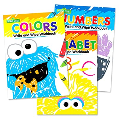 Set of 3 Sesame Street Write and Wipe Workbooks (Alphabet, Numbers, & Colors): Toys & Games