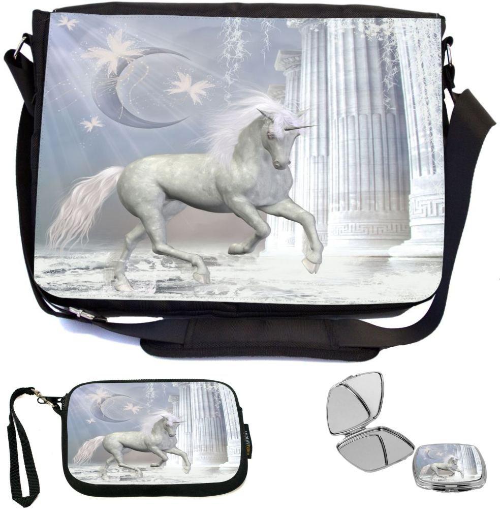 best Rikki Knight Magical White Unicorn Fantasy On Pink Bridge Design COMBO  Multifunction Messenger Laptop Bag 4e65a293d2cea