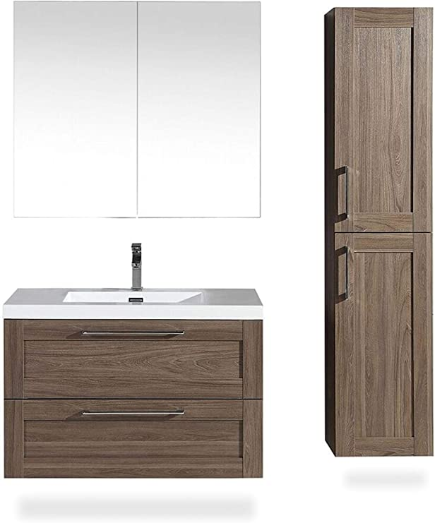 Bathroom Side Cabinet Cosmo 14 Inch Elm Assembled Wall Mounted Tower Perfect To Complement A Bathroom Vanity Perfect Place For Towels Toiletries 2 Door Cabinet With 5 Shelves By Flairwood Decor Amazon Com