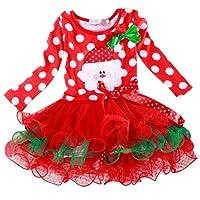 Internet Bébé filles enfants Coton À pois Noël an robes manches longues