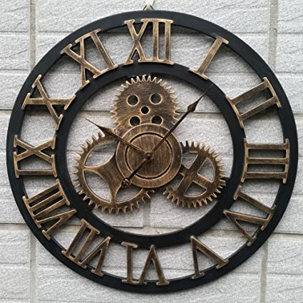 Aoligei Murale Horloge Engrenage Rétro Bois 3d Diamètre
