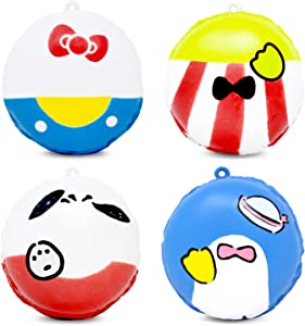 Sanrio Hello Kitty & Friends Super Rich Macaron Slow Rising Squishy Toy (Hello Kitty & Keroppi & Pochacco & Tuxedo Sam, 2 Inch, 4 Piece Set) [Birthday Gift Bags, Party Favors, Stress Relief Toys]
