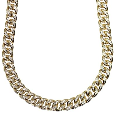 d08e41d8d3d Image Unavailable. Image not available for. Color  Mega Jewellery 18k Gold  Plated Miami Cuban Link CZ Chain Fully Iced Out Stainless Steel 10mm