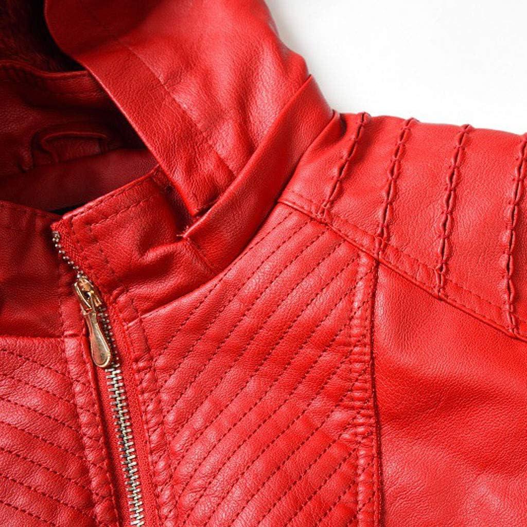 Jaysis Blouson en Cuir Bombers Aviateur Moto Veste Femme Manteau Simili Cuir Biker Veste Uni Hiver Printemps Automne Manche Longue Zipp/é Manteaux Chaud Sold Casual Jacket Coat Outwear Pas Cher Mode