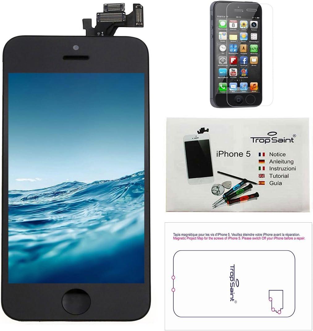 Trop Saint® Pantalla para iPhone 5 Negro - Kit de reparación LCD Completo - con Guía 5 lenguas, Superficie de Trabajo magnética, Herramientas y Film ...