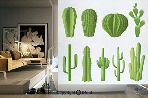 Ylljy00 Decorative Privacy Window Film Print Cartoon Like Image Hot Mexican Desert Plant Cactus Types with Spikes Image No-Glue Self Static Cling for Home Bedroom Bathroom Kitchen Office Decor Green