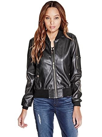 c24024bed G by GUESS Women's Kaycee Faux-Leather Bomber Jacket at Amazon ...