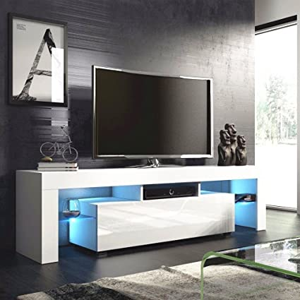 Amazoncom All Goodly White 51 Modern Tv Stand Unit Cabinet With