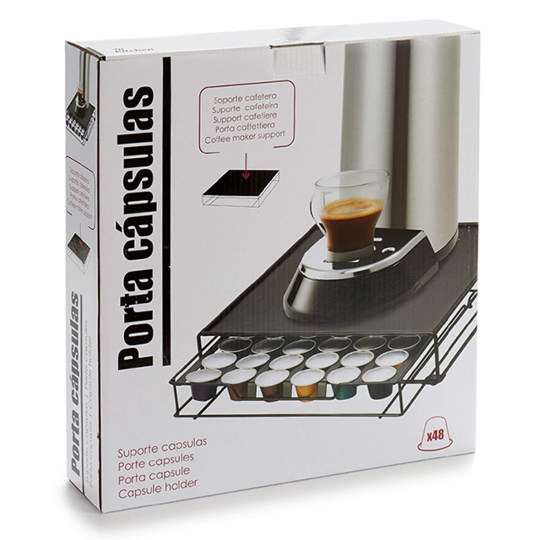 TENDENCIA ÚNICA Soporte para cápsulas y máquina de café. Metálico. Color negro. Perfecto para ahorrar espacio (20 cápsulas): Amazon.es: Hogar