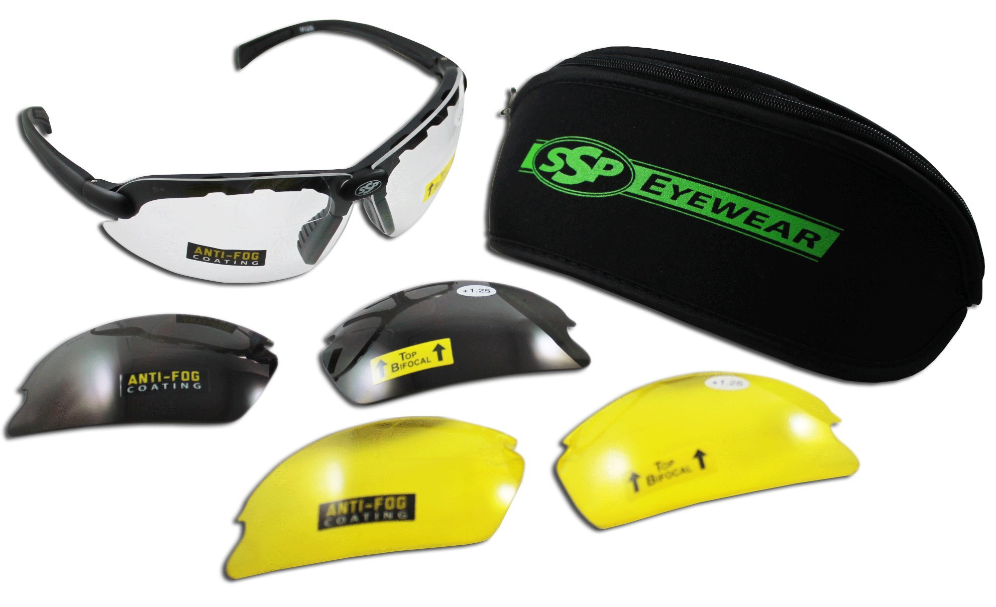 SSP Eyewear Top Focal Tactical Safety Glasses Kit with Assorted Interchangeable 3.00 Bifocal Lenses, TF 3.00 AST KIT