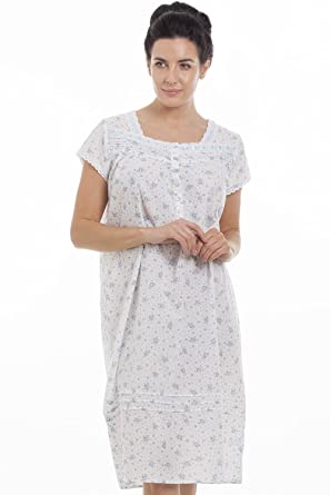 67b582305e42 Camille Women Blue Short Sleeve Floral Nightdress: Camille: Amazon ...