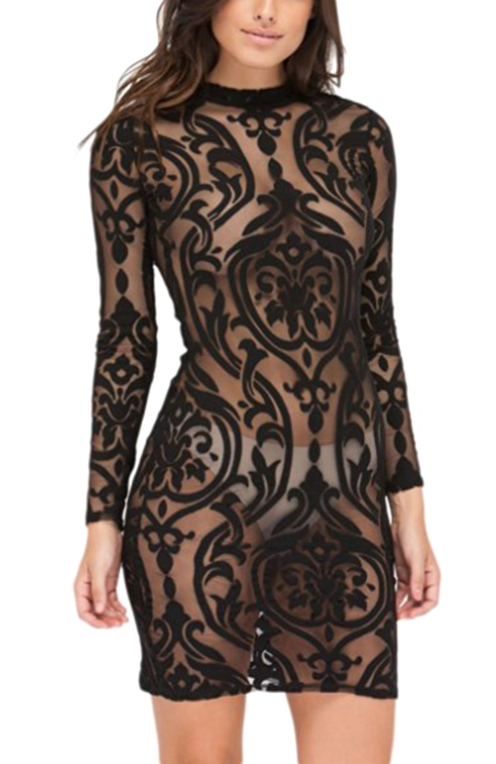 Hot Sale Women's Sexy Stylish Long Sleeve Mesh See Through Backless Bandage Club Dress (XL, black)
