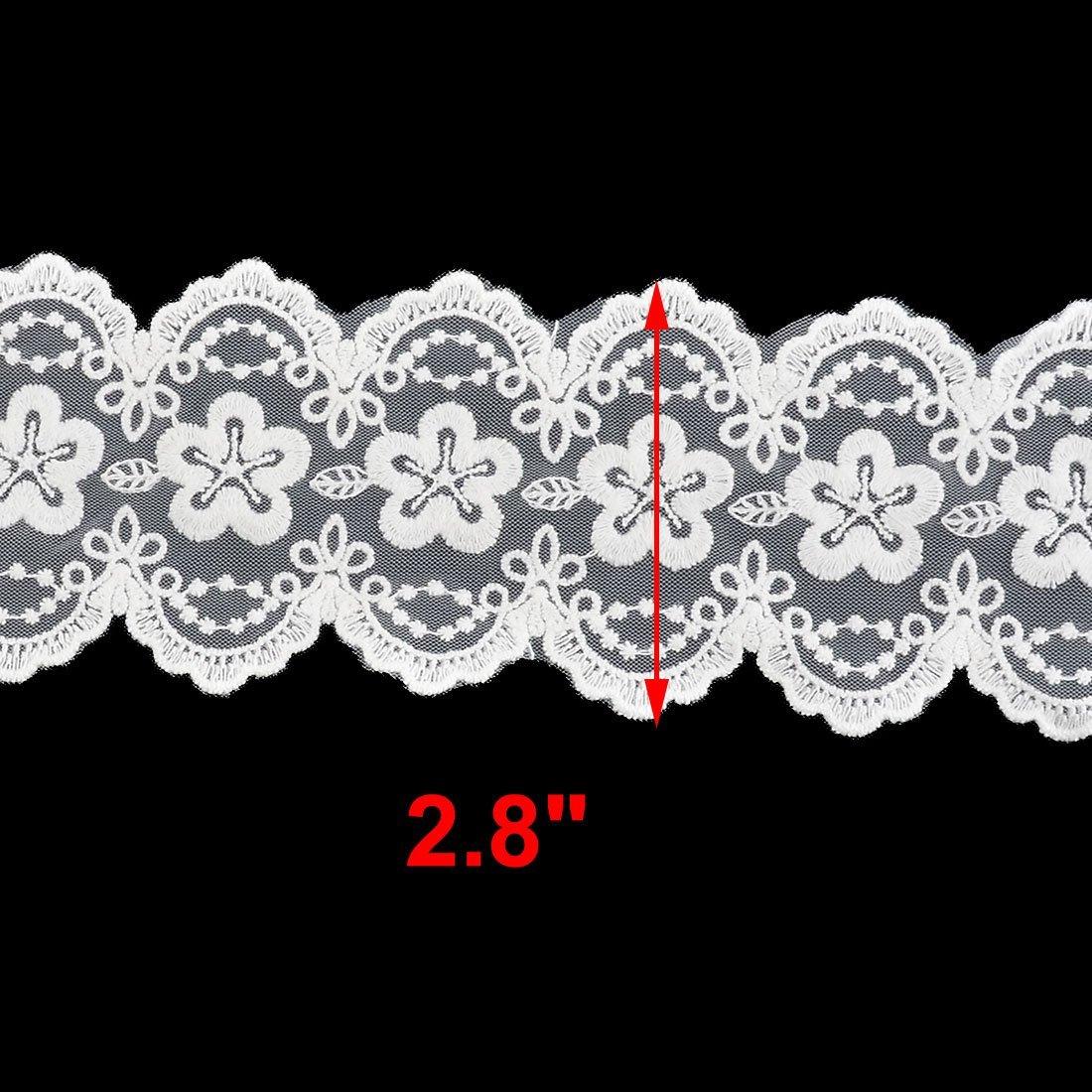 Amazon.com: eDealMax poliéster Fower Diseño personalizado Con borde de Encaje apliques 2, 8 pulgadas Ancho blancos
