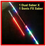 1 FX Led STAR WARS Lightsaber Light Saber Sword Sound Color FX + 1 Dual Sabers X