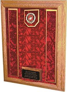 product image for All American Gifts Military Medal Awards Display Case - 16x20 - Shadow Box (USMC EGA Emblem/Red Velvet)
