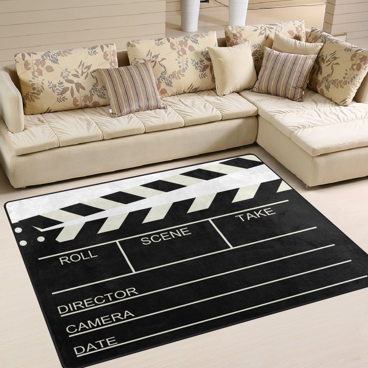 ALAZA Blank Old Cinema Movie Clapboard Area Rug Rugs for Living Room Bedroom 5'3'' x4'