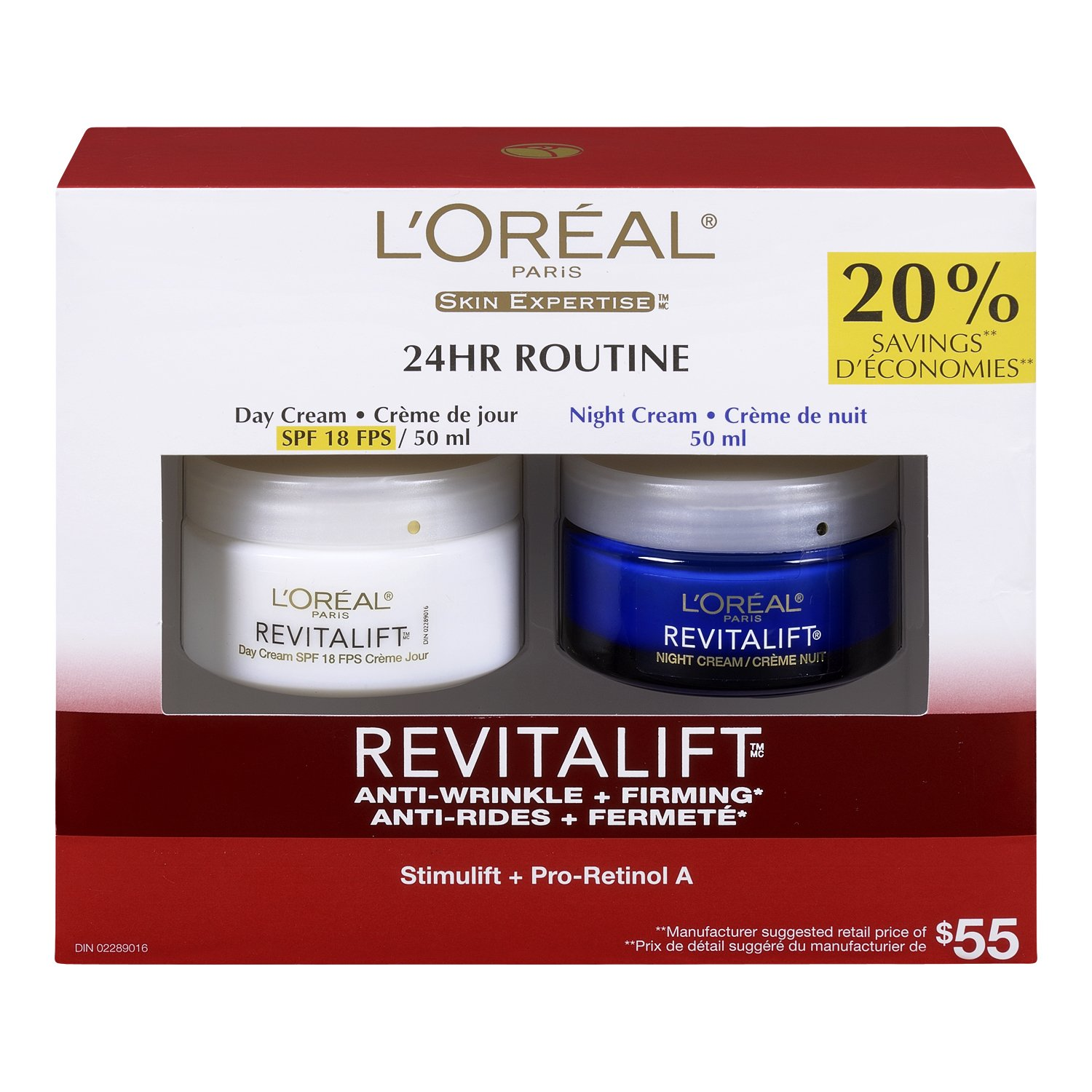 L'Oreal Paris Revitalift Anti-Wrinkle + Firming Anti-Aging Cream Day & Night Moisturizers , with Pro-Retinol & Centella Asiatica, 2x50 mL L'Oreal Paris