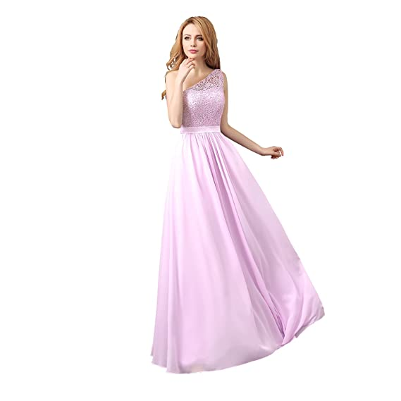 angel fashion One Shoulder Long Chiffon Lace Evening Formal Party ...