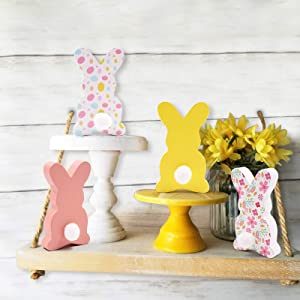 Wood Bunnies Farmhouse Easter Tiered Tray Bowl Fillers Riser Spring Free-Standing Peeps Rustic Rabbit with Cotton Tails Decors Pastel Pink Yellow 4 PCS