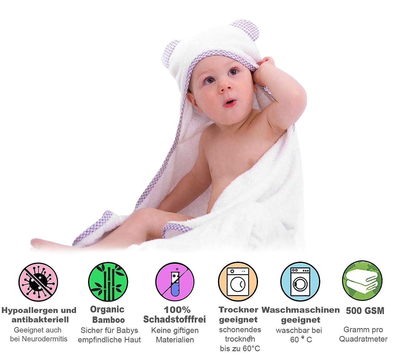 Baby Handtuch für Neugeborene 1 weiß/grau 100% Bambus Kapuzenhandtuch Baby