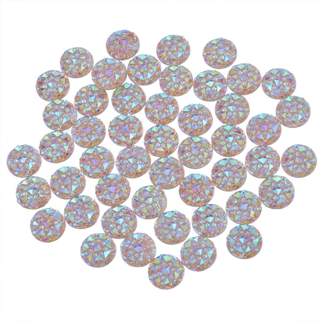 Souarts Champagne Resin Cell Phone Case Flatback Scrapbooking Dome Cabochons for Frame Setting 10mm Pack of 100pcs