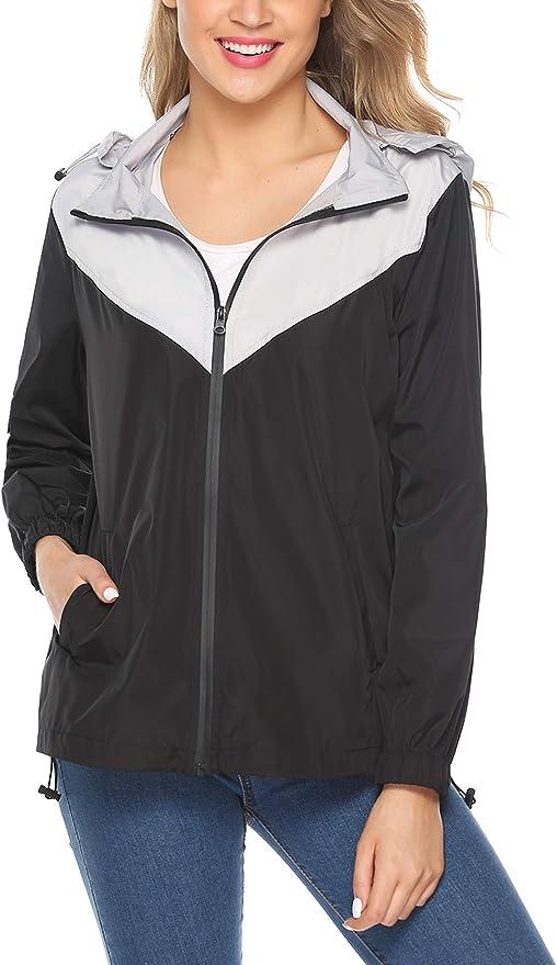 Hawiton Mujer Chaqueta Impermeable Chubasquero Ligera Secado R/ápido Chaqueta Cortavientos Informal para Deportes al Aire Libre