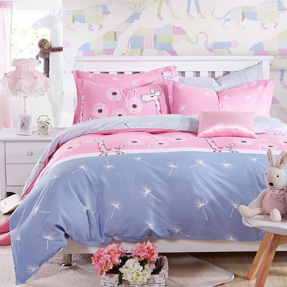 Zehui Adorable Dandelion and Giraffe Print Duvet Cover Set Kid's Bed Student Dorm Bed Home Bedding Pink Cartoon Quilt Cover Set 200x230cm