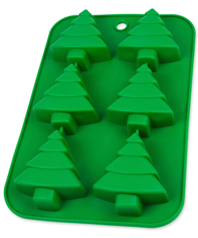 Silicona forma con abetos para pasteles, Muffin, Christmas Bombones de chocolate Brownie, cubitos de hielo,, nascherei en diseño navideño, Días festivos, dulces, Muffin, Pudding, Papá Noel, Santa, color: verde BlueFox