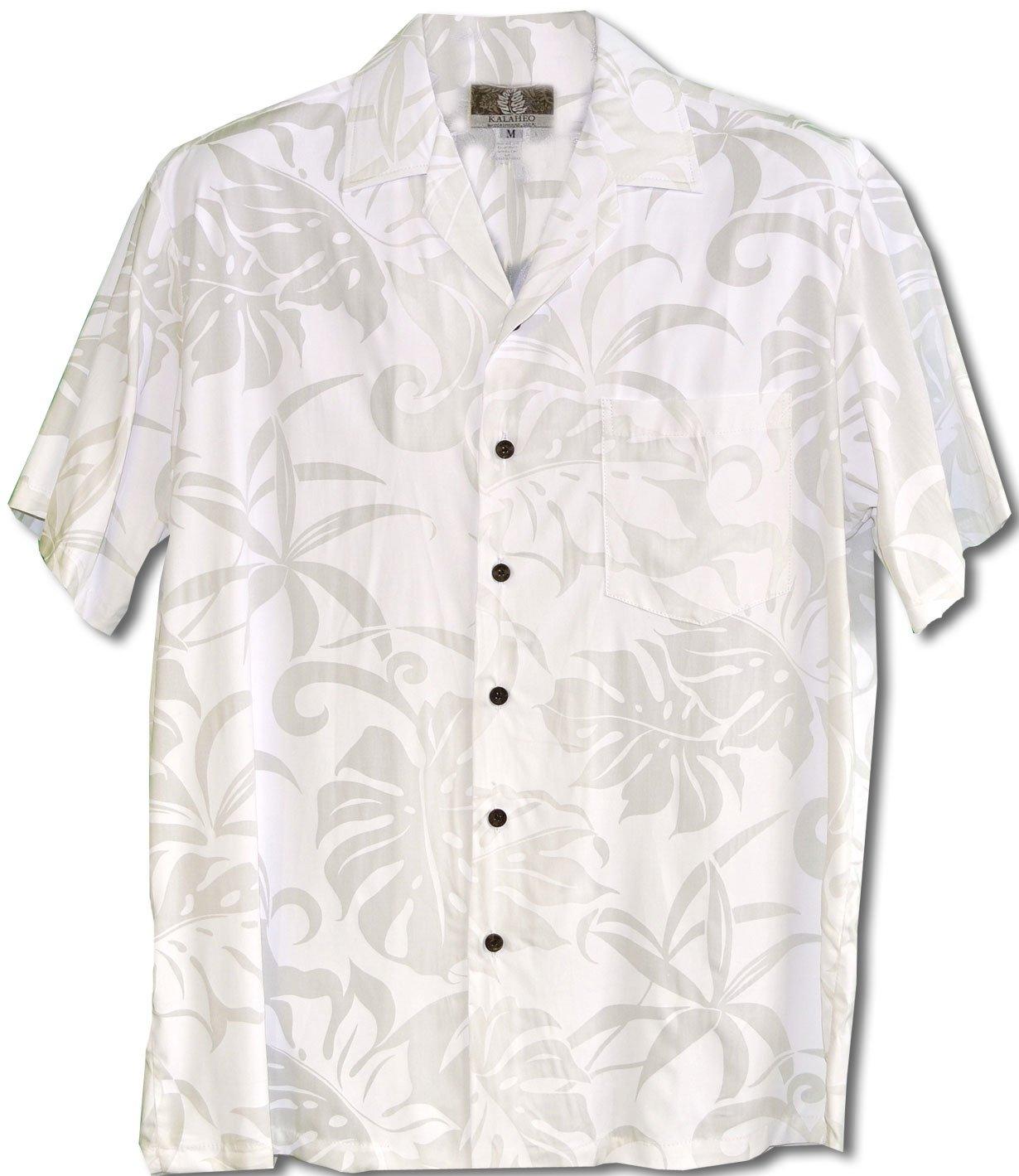 RJC Mens Delicate Tropical Wedding White Rayon Shirt L