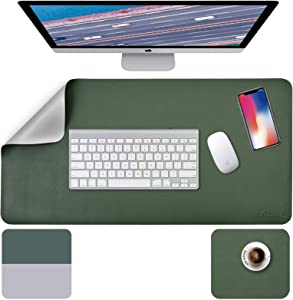 """Desk Pad, Desk Mat, Mouse Mat, XL Desk Pads Dual-Sided Green/Gray, 31.5"""" x 15.7"""" + 8""""x11"""" PU Leather Mouse Pad 2 Pack Waterproof, Mouse Pad for Laptop, Home Office Table Protector Blotter Gifts"""
