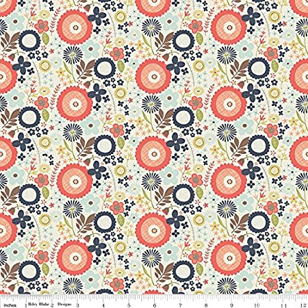 100 /% Cotton fabric ~Navy blue with cream design ~ BTY
