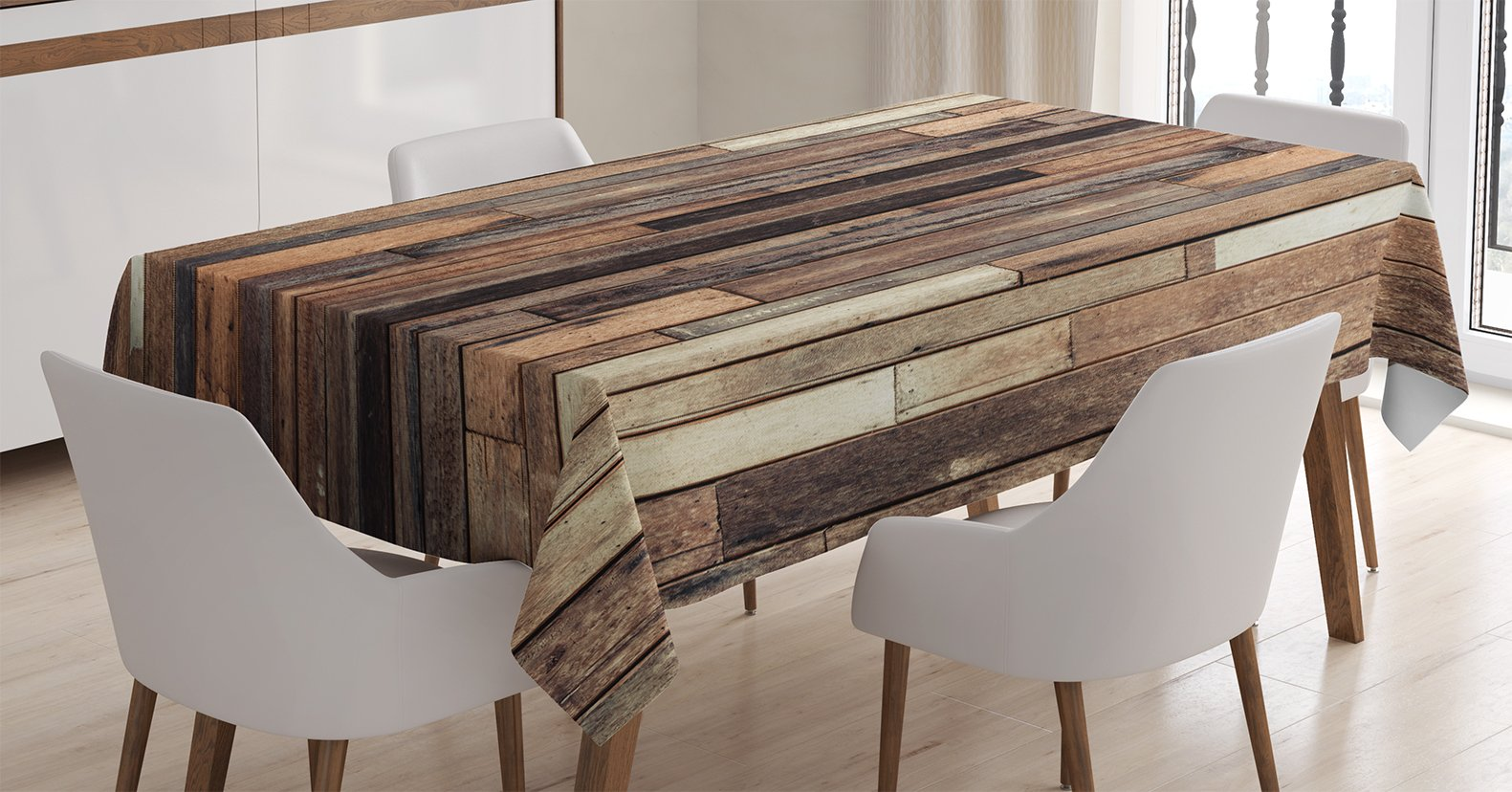 Ambesonne Wooden Tablecloth, Brown Old Hardwood Floor Plank Grunge Lodge Garage Loft Natural Rural Graphic Artsy Print, Dining Room Kitchen Rectangular Table Cover, 60 X 90 inches