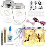 Koogel Fairy Jar Kits for Girls, 2PCS Fairy Lanterns with Various Fairy Light Crafts Kit for Girls Night Lights DIY…