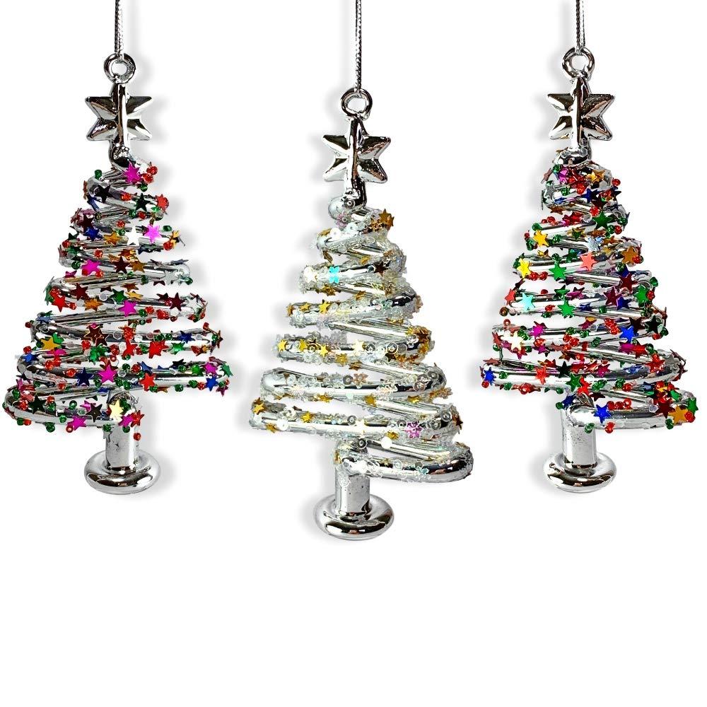 Amazon.com: BANBERRY DESIGNS Glass Christmas Tree Ornaments - Set of ...