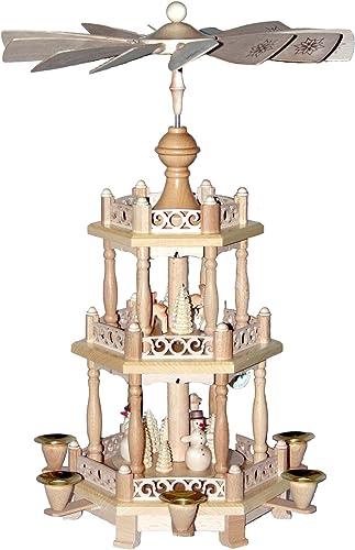 Alexander Taron Importer 16798 Richard Glaesser Pyramid-3 Tiers-Snowmen and deer-18.5 H W x 11 D, 18.5 x 11 x 11 , Brown