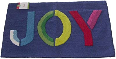 Decor Hand Hooked Rug Blue Holiday Joy Throw Rug Christmas Accent Mat 18x30